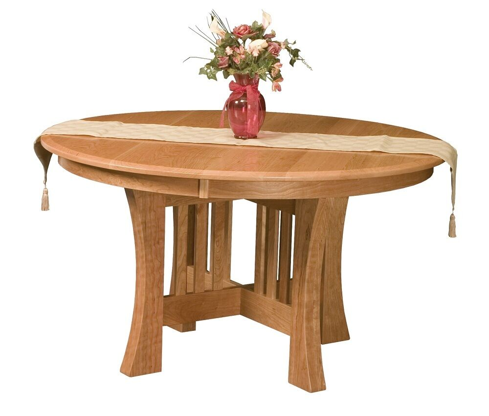 Amish mission dining table chairs set round extending leaf for Solid wood round dining table with leaf