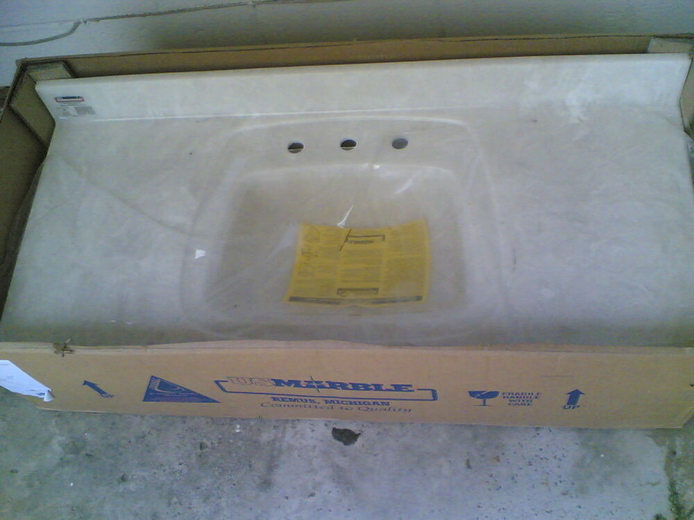 Nib Bathroom Premium White Cultured Marble Vanity Cabinet Top Sink 49x22 Ebay