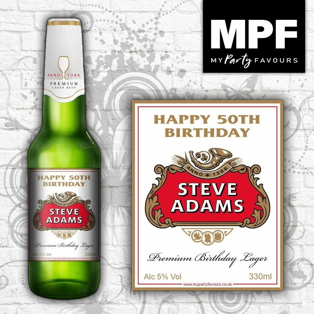 8 Personalised Lager/Beer Bottle Labels (Birthday Gift)