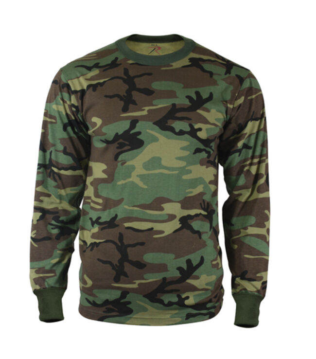 T shirt long sleeve woodland camouflage army camo tee ebay for Camouflage t shirt printing