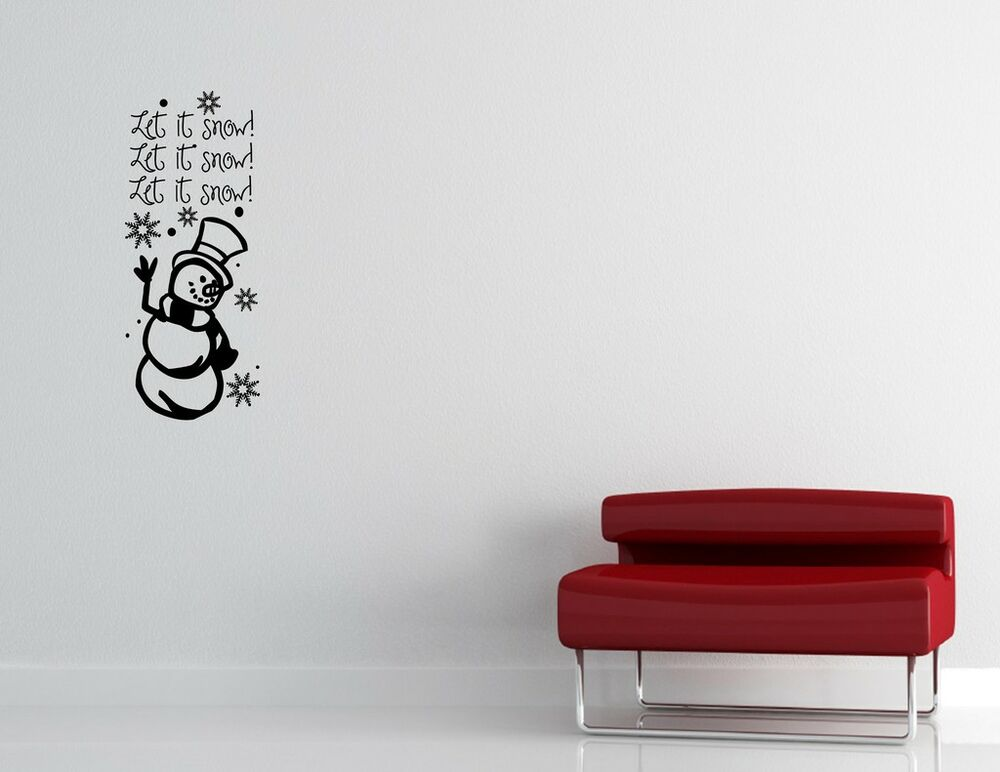 Let it snow christmas vinyl quote me wall art decal xmas for Christmas wall mural plastic