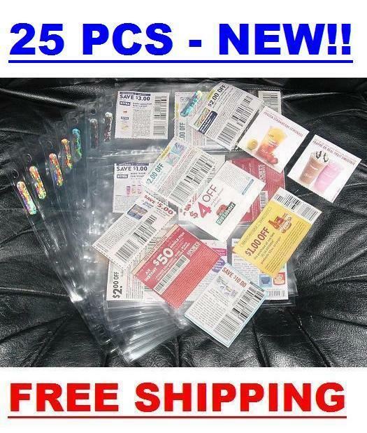 (25) Coupon Sleeves Pages For Binder 9 Pockets