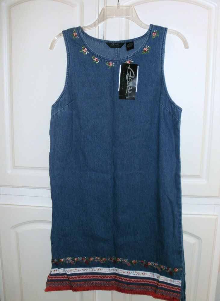 Agapo denim jean embroidered jumper dress sz m nwt ebay