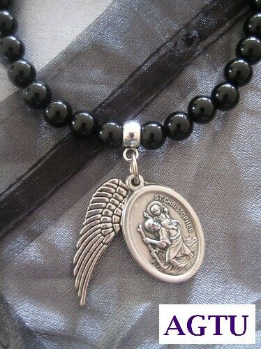 black agate bracelet with st christopher medal