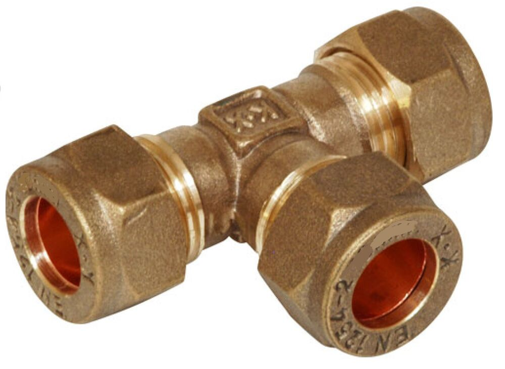 Brass equal tee imperial compression plumbing fitting
