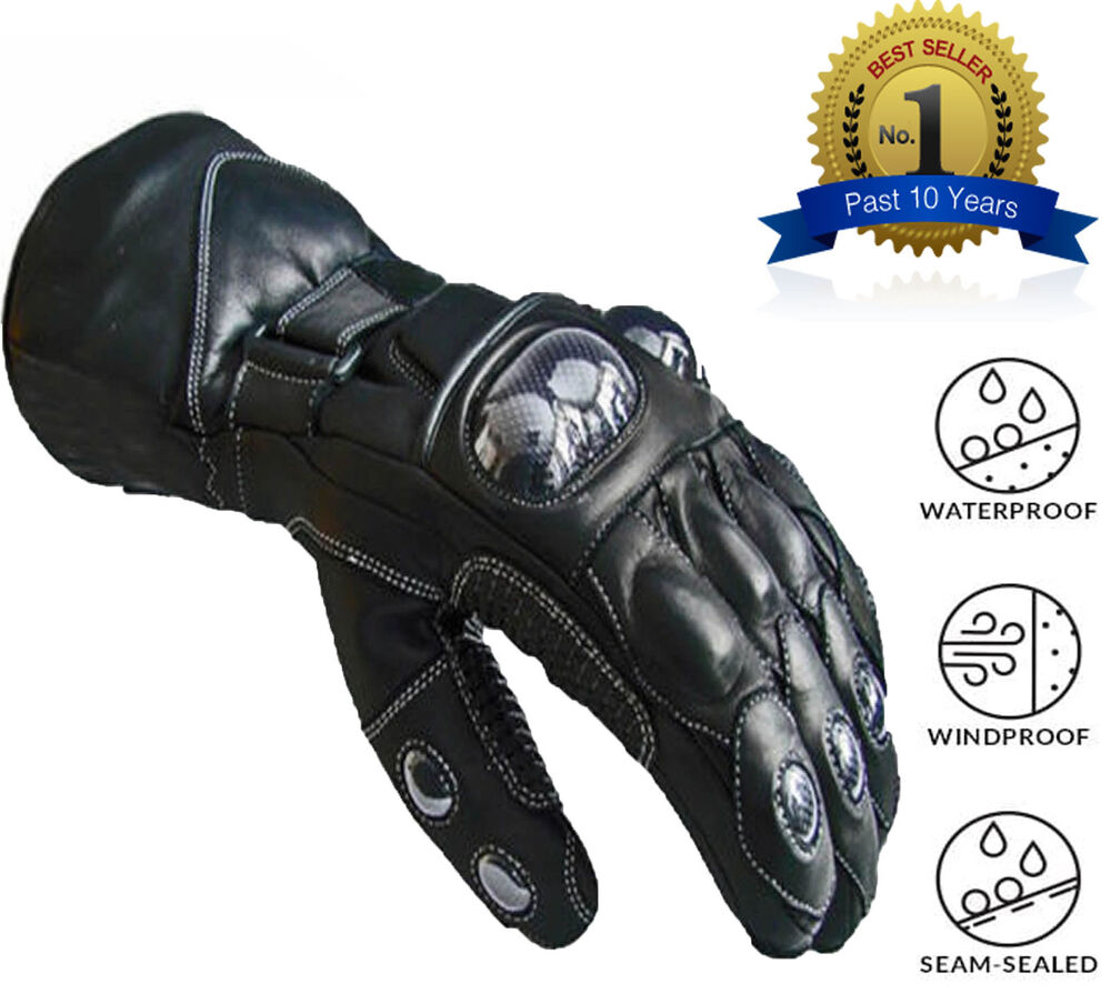 Winter Leather Motorcycle Motorbike Waterproof Gloves | eBay