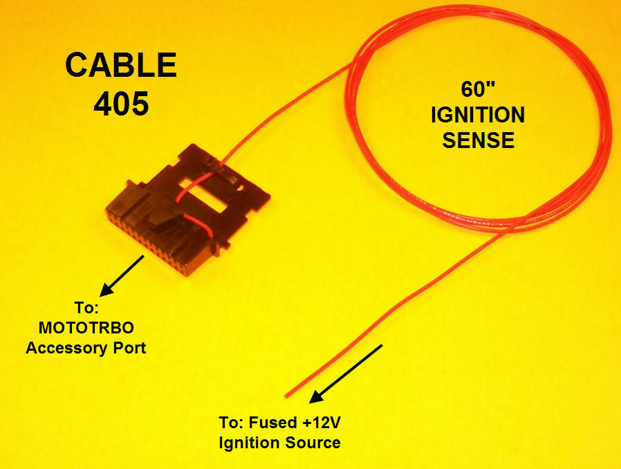 Cable 405 Ignition Sense Plug Motorola Mototrbo Xpr4300 Xpr4350 Xpr4500 Xpr4550