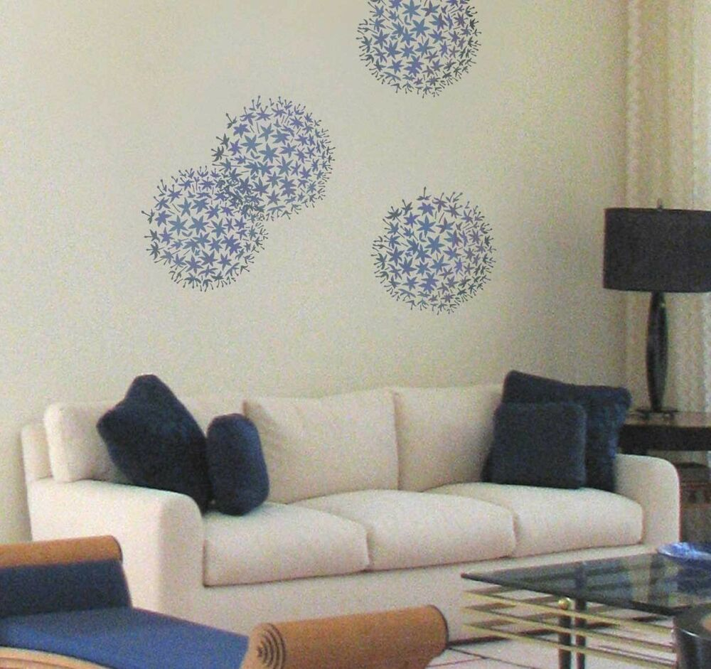 Wall Decor With Stencils : Allium grande wall art stencil floral stencils for
