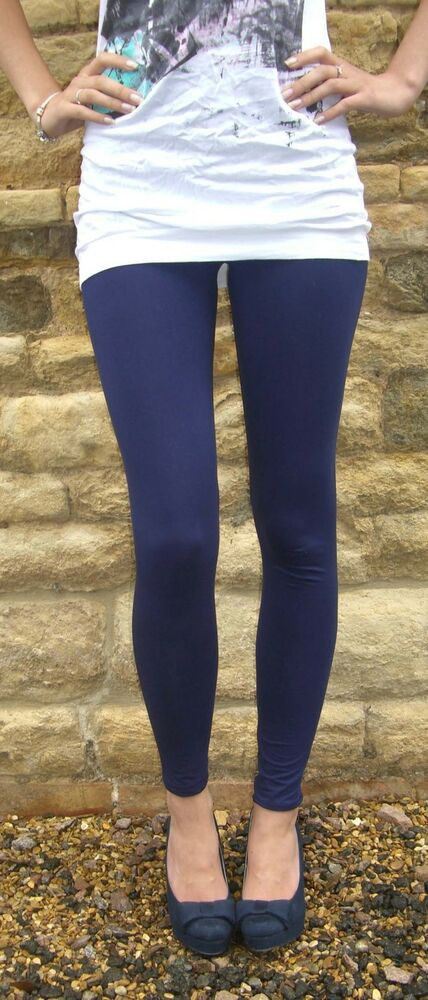 c724239fe45 Details about EXTRA LONG Leggings Viscose Womens Pants NAVY SIZE 6 8 10 12  14 16 18 20 22 Tall
