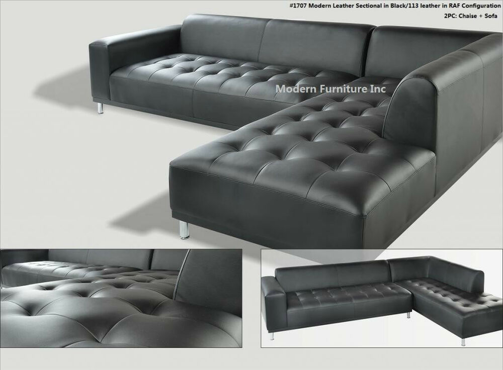 2 pieces set modern contemporary black leather sectional for Black leather sectional with chaise