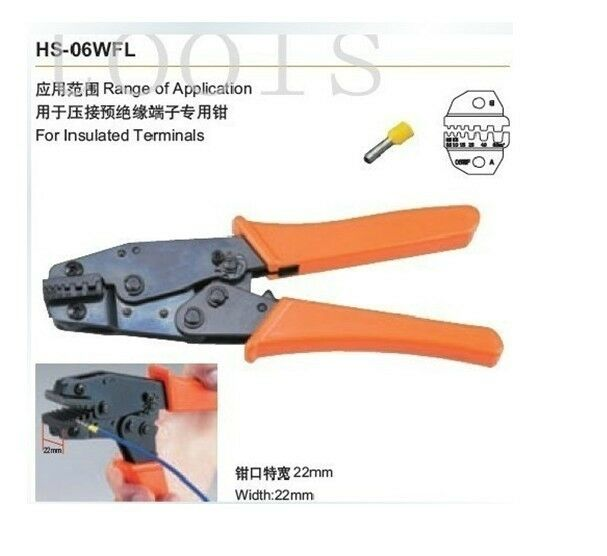 insulated terminals crimper plier awg 24 10 hs 06wfl ebay. Black Bedroom Furniture Sets. Home Design Ideas