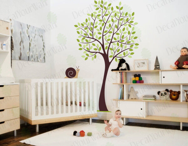 Tree wall decal nursery large tree wall stickers kids room for Baby girl nursery mural
