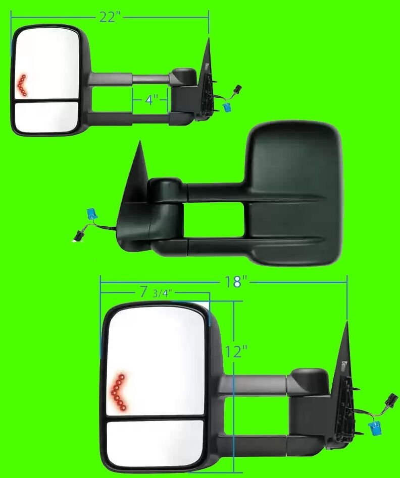 2003 2004 chevy silverado 1500 2500 3500 power signal tow mirror pair ebay. Black Bedroom Furniture Sets. Home Design Ideas