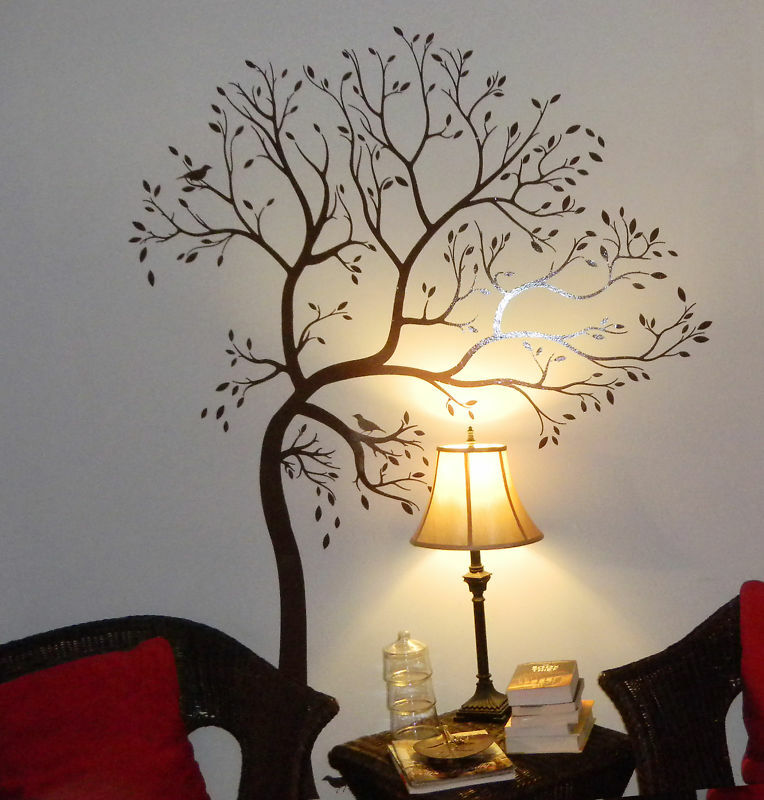 Large tree with bird color dark brown wall decal deco for Deco mural stickers