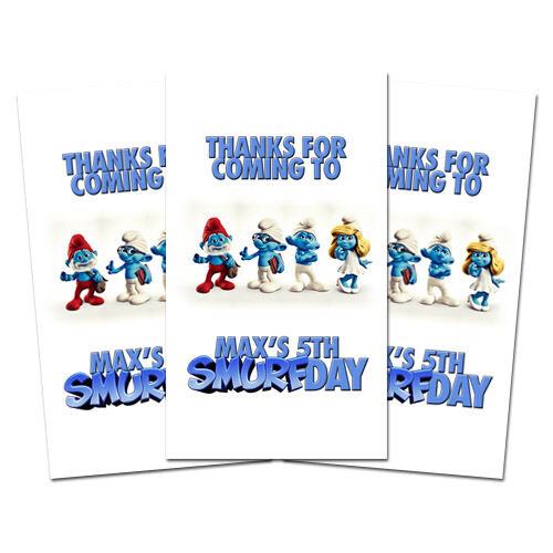 10 smurf movie party favors thank you tags