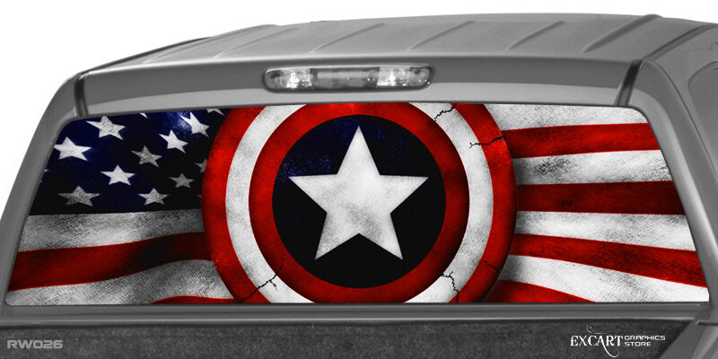 American Flag Amp Shield Patriotic Rear Window Graphic Decal