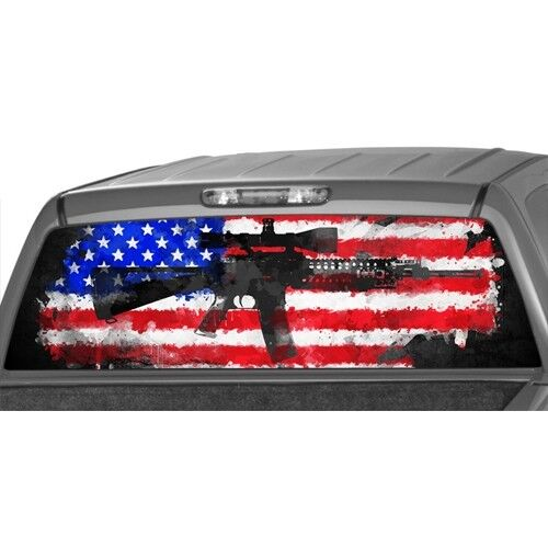 American flag rifle window graphic decal print sticker for Window graphics
