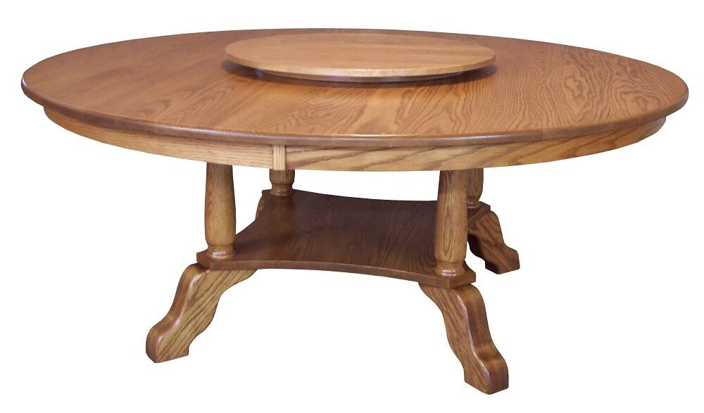 large amish round dining table solid oak wood traditional 60 72 lazy susan new ebay. Black Bedroom Furniture Sets. Home Design Ideas
