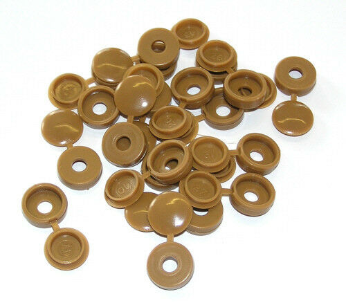 20 light brown snap on hinged screw caps covers for m3 5. Black Bedroom Furniture Sets. Home Design Ideas