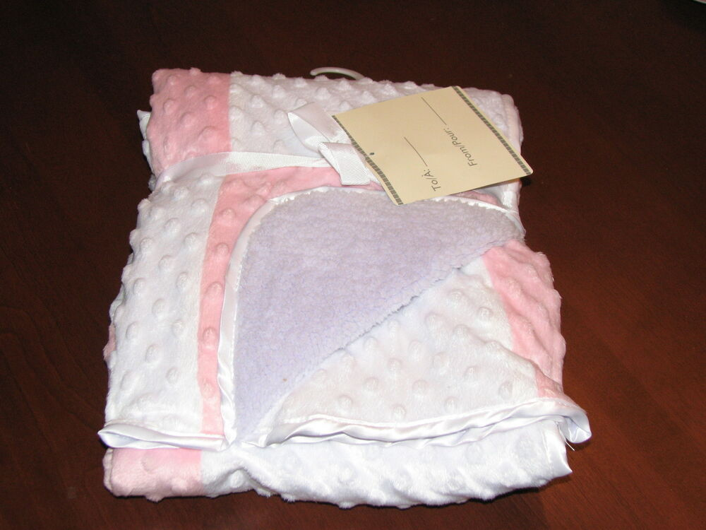Mk Home Plush Baby Blanket Pink Purple Amp White Ebay