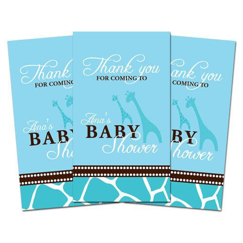 10 BLUE GIRAFFE Personalized Baby Shower Favors Thank You