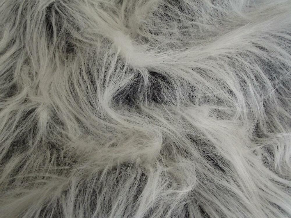long pile fun faux fur fabric material black frost ebay. Black Bedroom Furniture Sets. Home Design Ideas