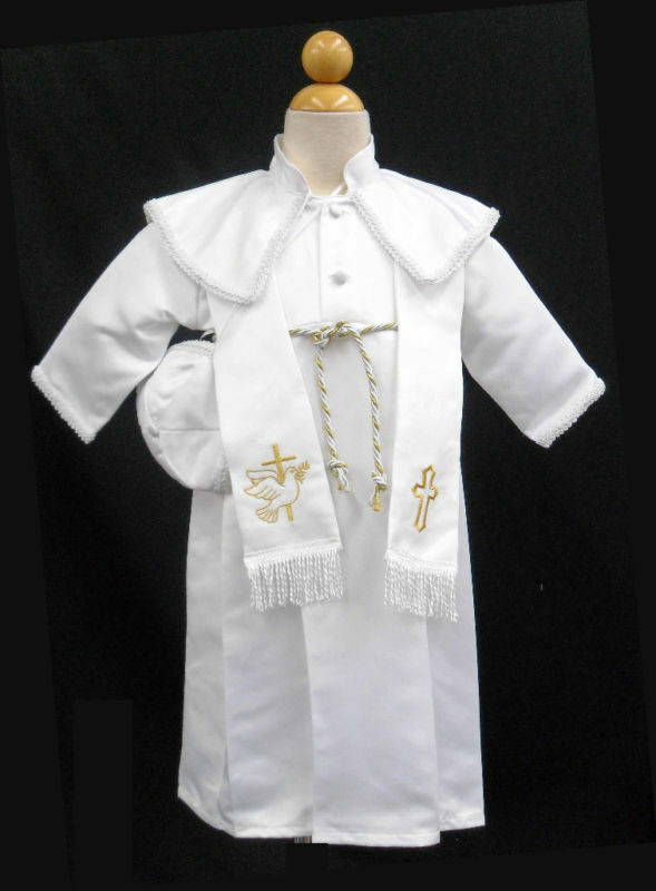 New Baby Boy Toddler Christening Baptism Gown Outfit Sz 0 ...