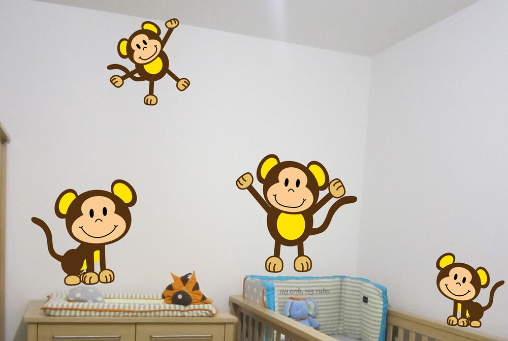 4 Cute Monkeys Wall Decals Sticker Nursery Decor Mural