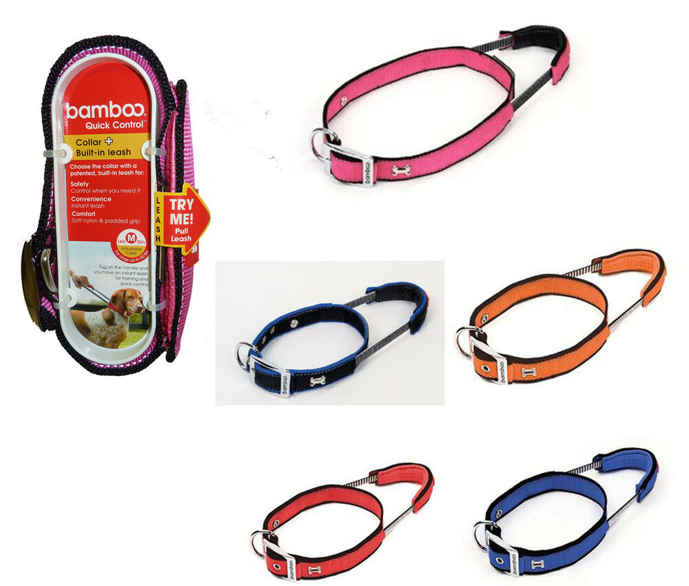 Bamboo Dog Collar With Built In Padded Leash Handle For