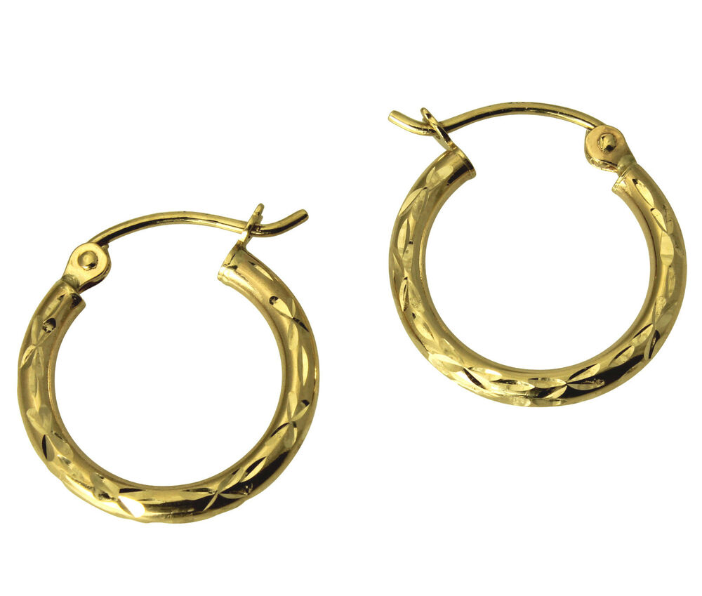 16 hoop earrings 14k yellow gold 2mm thickness cut classic hinged 383