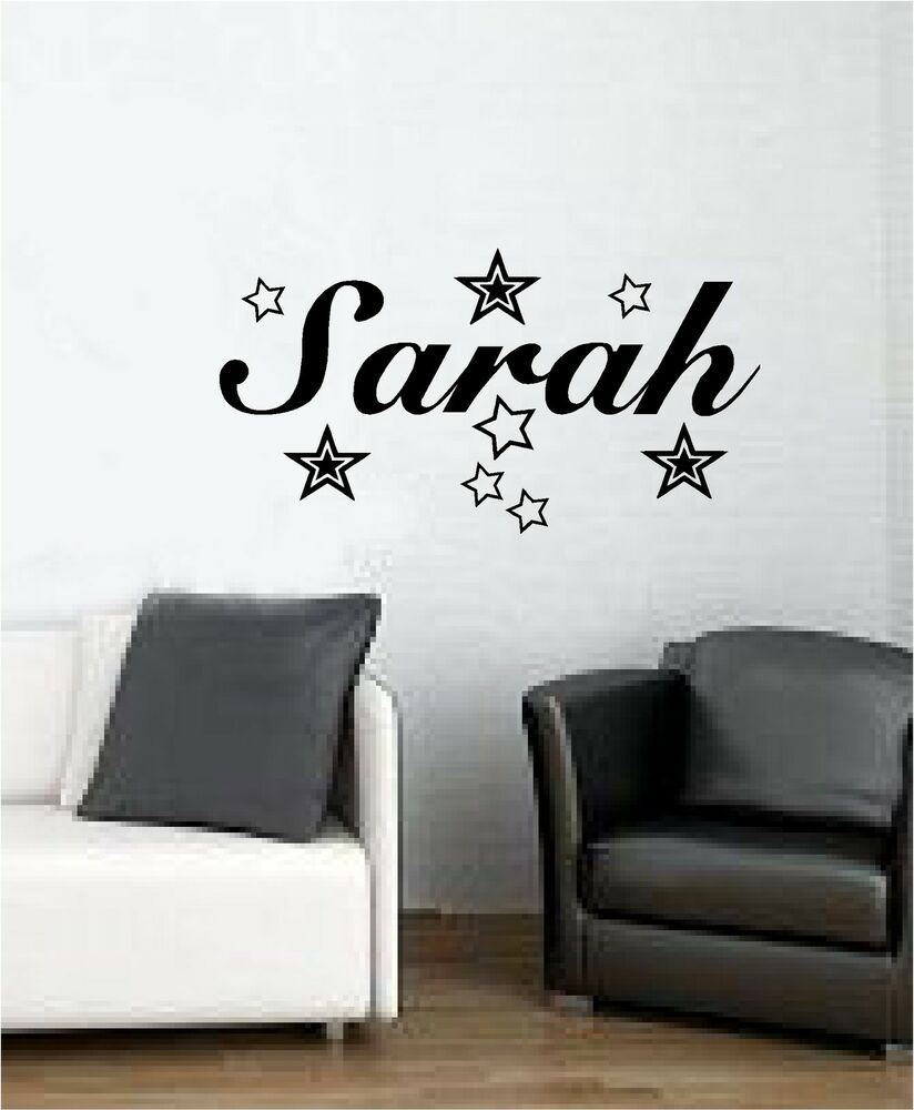 Personalised name with stars wall art sticker vinyl bedroom decal kids ebay - Stickers on the wall decoration ...