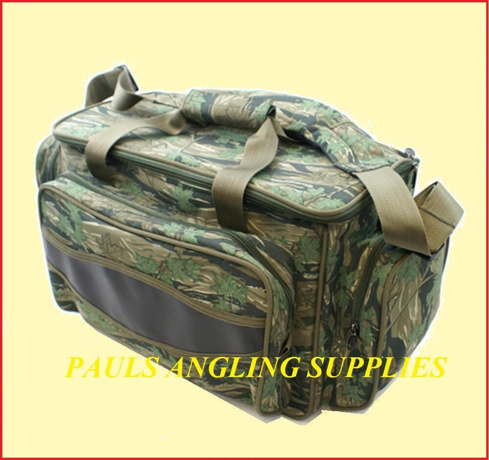 Camo carryall fishing tackle carry bag strap ebay for Ebay fishing gear