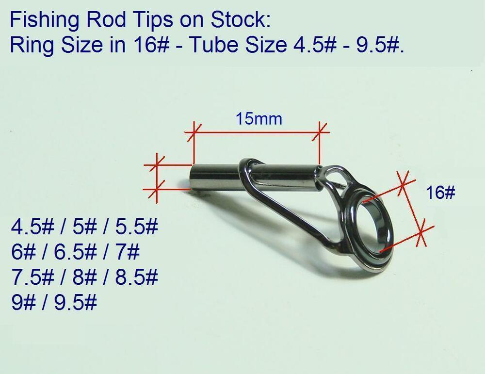 fishing rod tips eye ring size in 16 tube size 4 5