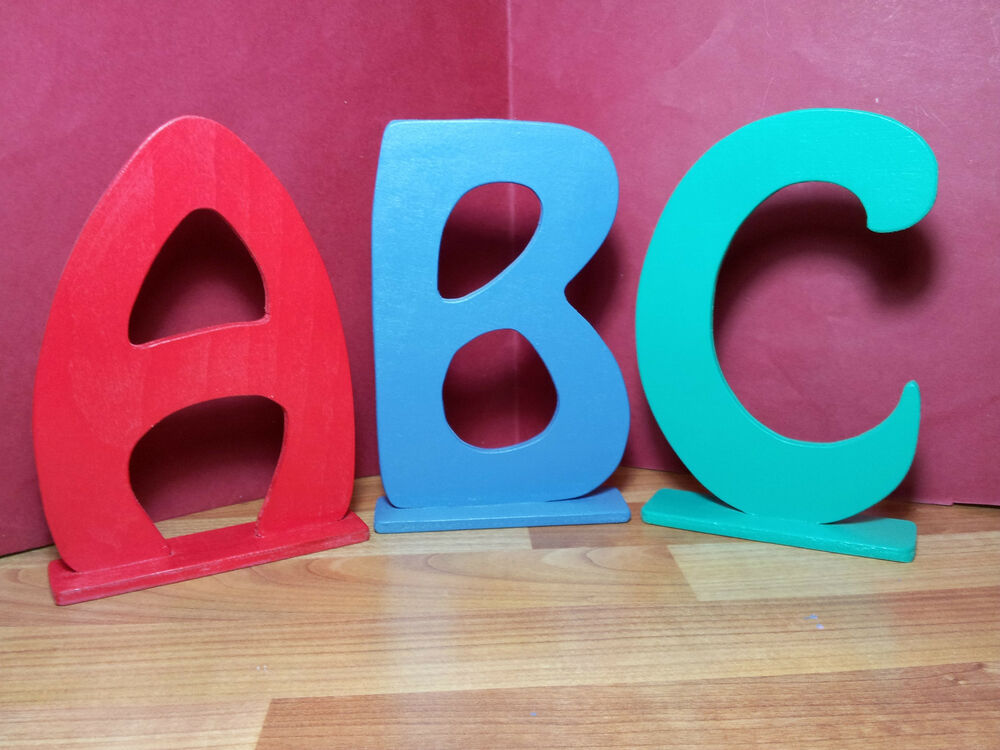 Painted free standing wooden letters names words art gifts for Standing wood letters to paint