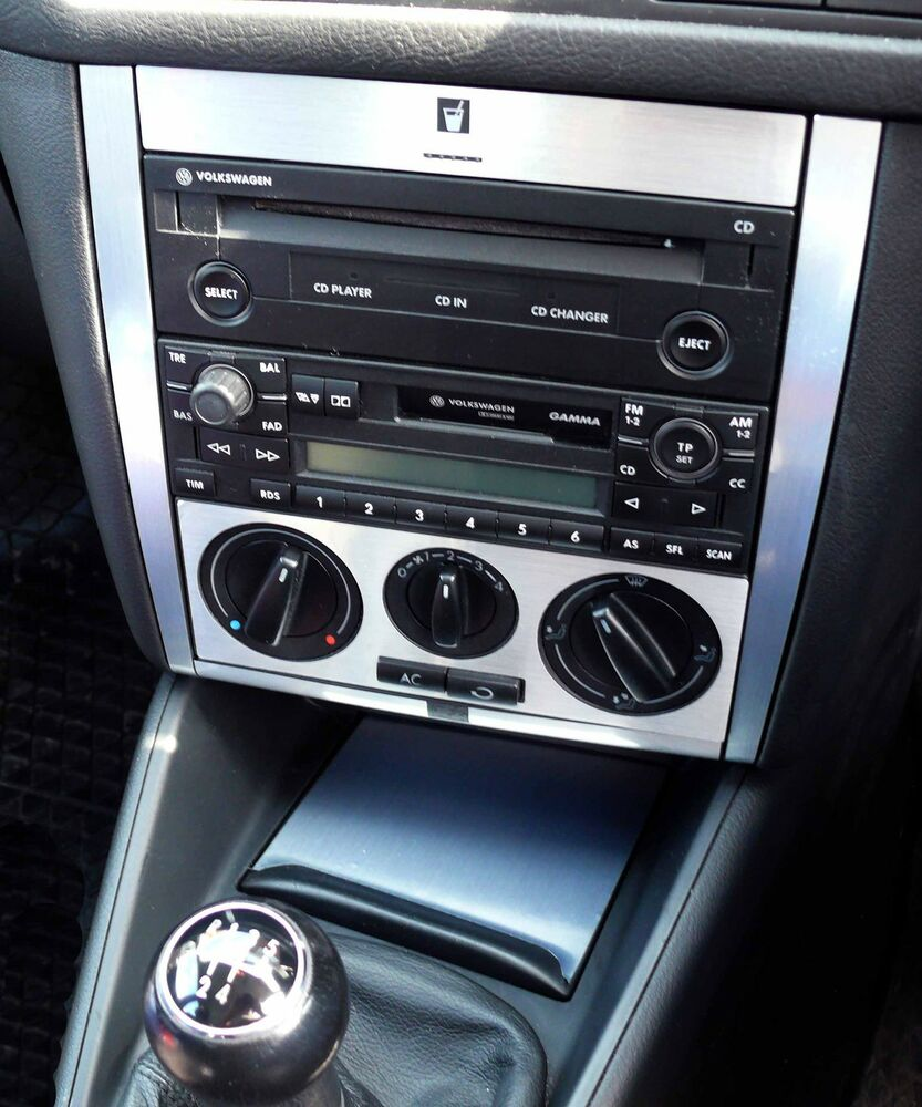 vw golf mk4 brushed ali radio console and ashtray set 03. Black Bedroom Furniture Sets. Home Design Ideas