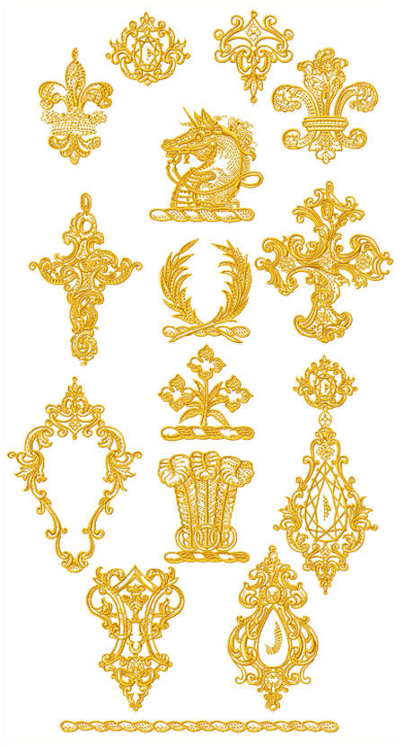 Abc designs 15 golden symbols machine embroidery designs for Embroidery office design 7 5 full