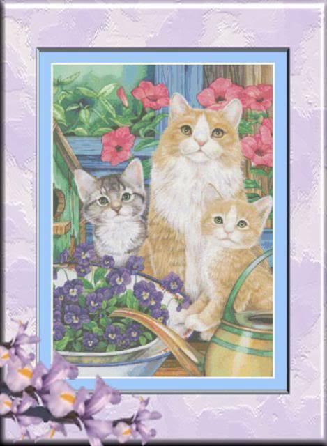 PRECIOUS CAT FAMILY COUNTED CROSS STITCH PATTERN | eBay