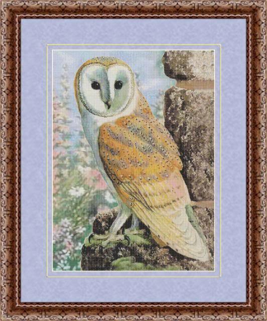 BARN OWL AT DAWN COUNTED CROSS STITCH PATTERN