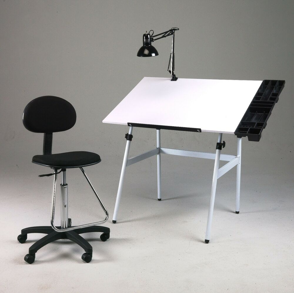 Chair And Desk Combo folding drawing table desk combo w/ chair, side tray & lamp