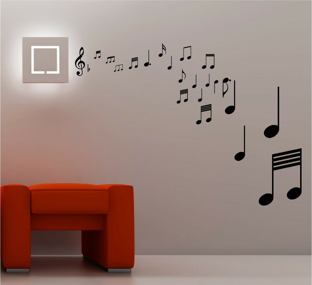 Stunning musical notes wall art quote sticker vinyl music lounge bedroom ebay - Music note wallpaper for walls ...