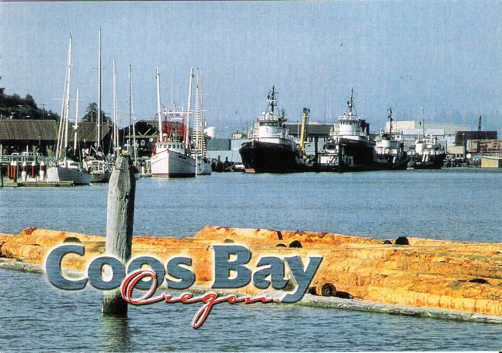 Postcard or oregon coast coos bay fishing boats near mint for Head boat fishing near me