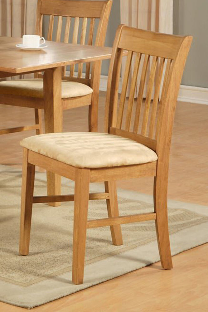 8 NORFOLK DINING ROOM KITCHEN DINETTE CUSHION OR WOOD SEAT CHAIRS IN OAK FINI