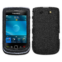 RIM BLACKBERRY TORCH 9800 9810 4G RHINESTONE CASE SOLID BLACK
