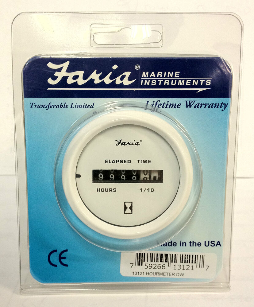White Hour Meter : New faria boat hour meter gauge dress white instrument