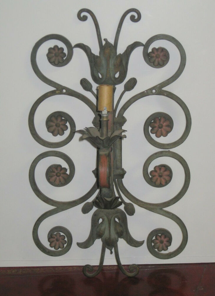 Antique Wrought Iron Wall Sconce Hand Painted Flowers 1 Light eBay