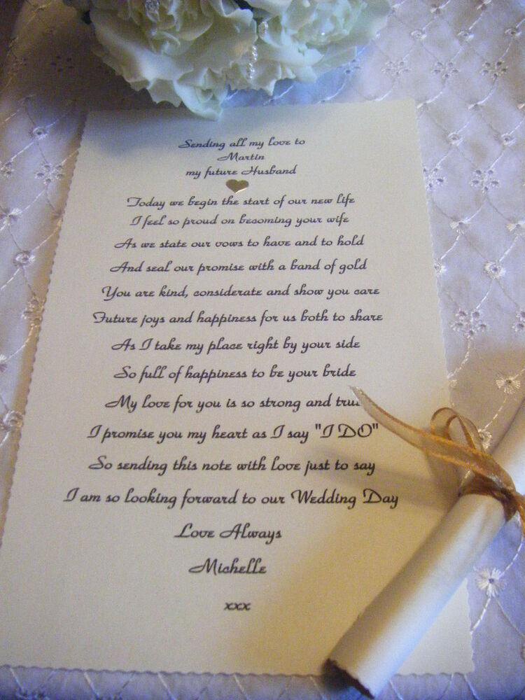 Personalised Wedding Day Scroll Poem - Future Husband ...