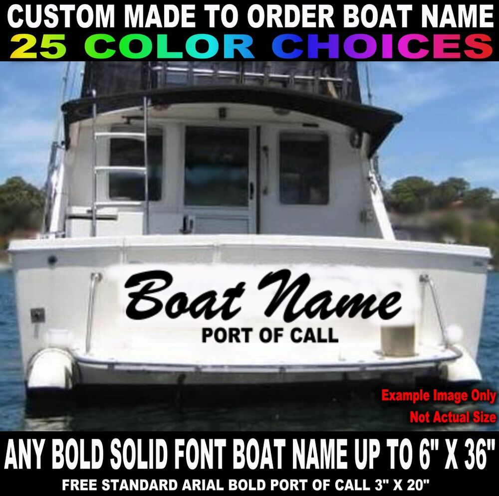 6 x 36 custom made transom boat name vinyl decal for Custom transom