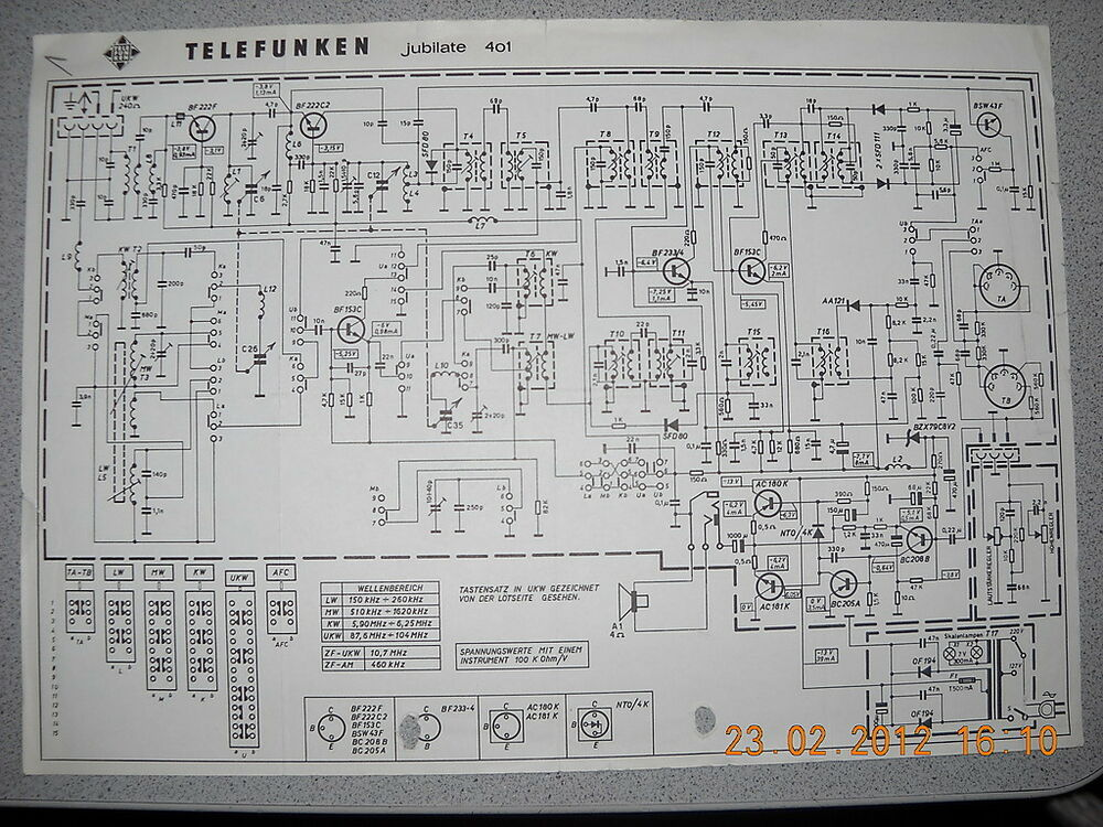 telefunken radio jubilate 401 schaltplan ebay. Black Bedroom Furniture Sets. Home Design Ideas