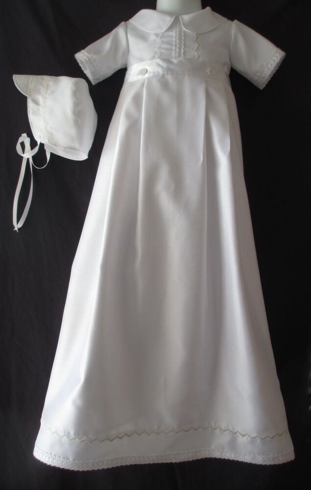 c9790a680 Boys Silk Shantung Christening Gown/Romper Baptism Convertible Outfit 0-12M  | eBay