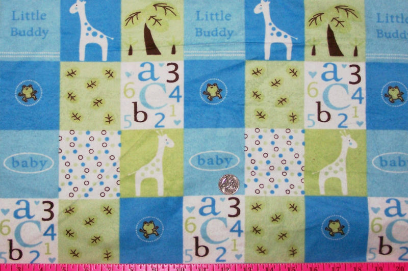 Joann baby boy blue squares print flannel 1 yard ebay for Little blue truck fabric